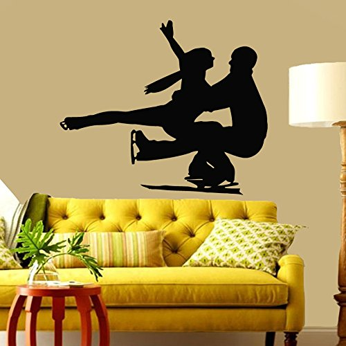 Housewares Wall Vinyl Decal Figure Skaters Ice Skating Couple Man and Woman Sport People Gym Interior Home Art Decor Kids Nursery Removable Stylish Sticker Mural Unique Design for Any Room