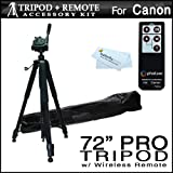 Photive RC-4 Wireless Remote Control Kit For Canon EOS Digital Rebel XT, XTi, XSi, T1i, T2i, T3i, 60D, 7D 5D Mark II Digital SLR Cameras + 72 Super Strong Tripod With Deluxe Soft Carrying Case ~ ButterflyPhoto