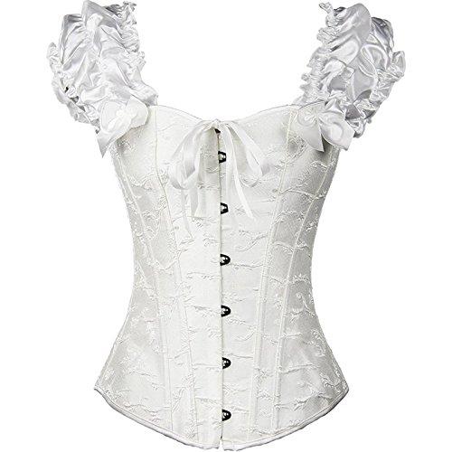 Europa Palace corsetto da sposa sexy in acciaio gilet corsetto corpetto corsetto poliestere femminile , white , xxl