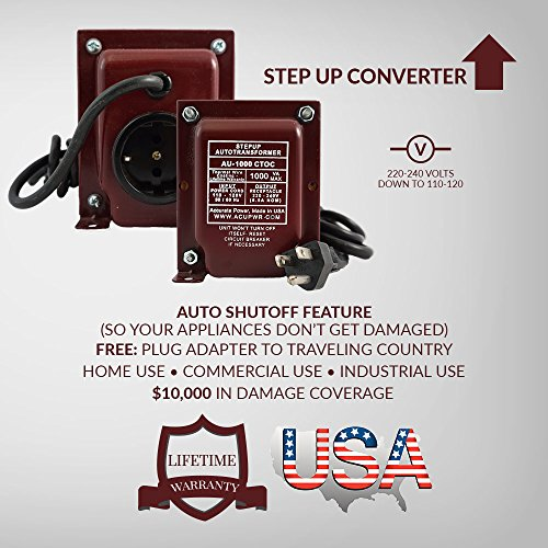 ACUPWR 1000 Watt Travel Step Up Voltage Transformer Converter 110/120/220/240 V - CE Certified AU-1000 USE ELECTRONICS FROM OTHER COUNTRIES IN THE USA - Travel size - Perfect for European, Asia electronics to use in USA/ Canada [Lifetime Warranty Made with the Finest Materials in the USA]