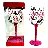 40th BIRTHDAY GIFT LARGE WINE GLASS PINK & BLACK SPOTS & SHOE DESIGN