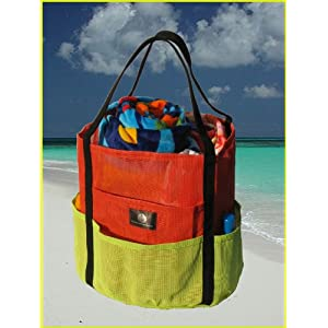 "Mesh Beach & Gym Tote - Salsa & Chartreuse ""Dolphin Bag"""