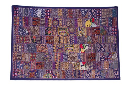 Indian Designer Hanging Wall Tapestry Patchwork Design  &  Embroidery Work, 152 X 102 Cm