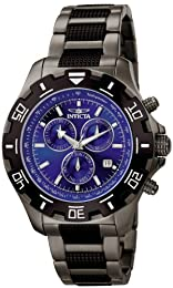 Invicta SpecialtyPython Men's Quartz Watch with Blue Dial  Chronograph display on Black Stainless Steel Bracelet 6411