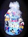 Four tier Disney diaper cake for baby shower centerpiece or gift Mickey Mouse by Little KGs dreams