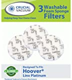 Hoover Linx Washable & Reusable Foam Sponge Filter 3-Pack; Replaces Hoover Platinum Linx Part # 902185003, 562161003, 410044001, BH50010, BH50015, SH20030; Designed & Engineered By Crucial Vacuum