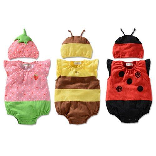 Locomo Baby Unisex Fruit Insect Strawberry Ladybug Bee Bodysuit Hat Fbb004S02L