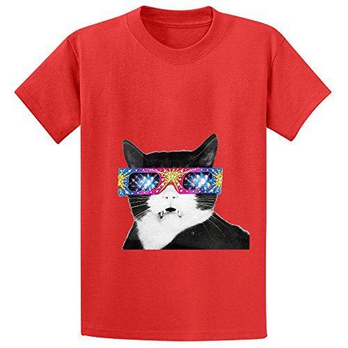 Laser Cat Child Crew Neck Cotton T-shirt Red