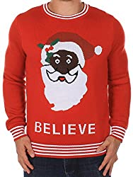 Ugly Christmas Sweater - Black Santa Sweater by Tipsy Elves (S)