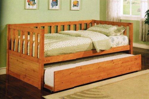 Wooden Daybed with Trundle - Honey Finish