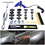 GLISTON Paintless Dent Repair Remover Kit Dent Puller Pro Pdr Slide Hammer Tools with 16pcs Thickened Black Tabs for Diy Automobile Body Hail Damage Removal