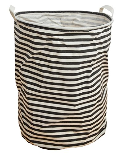 Bestwoohome Large Foldable Laundry Basket Storage Hamper for Dirty Clothes(Black White Stripe) (White Corner Laundry Basket compare prices)