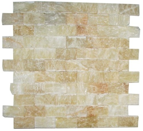 Honey Onyx Split Face 1x2 Mosaic Tile For Kitchen