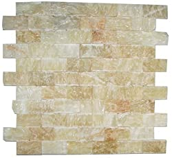 Honey Onyx Split Face 1x2 Mosaic Tile for Kitchen Backsplash, Wall tile