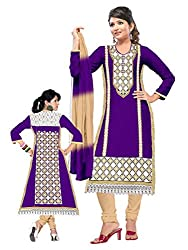 Pandadi Creation Woman's Untitched Beatifull Resham Chain stich Embroidery Purple Collor Suit Piece Dress Material.