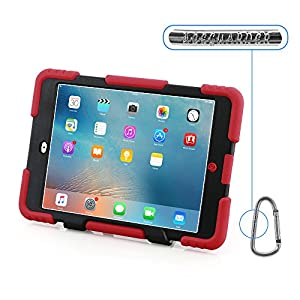 Ipad mini case, Aceguarder design products iPad mini 1&2&3 case [snowproof] [waterproof] [dirtproof] [shockproof] cover case with stand Super protection for kids Extreme Duty Dual Protective Back Cover Case Carabiner + whistle + handwritten touch pen (red