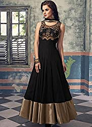 Shree Khodal Women's Black Net Designer Dress Material [AF12(SK_F)]