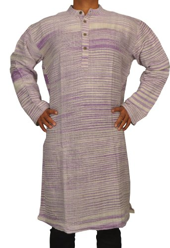 Designed Mens Casual Khadi Cotton Long Kurta Fabric For Winter & Summers Size-5XL