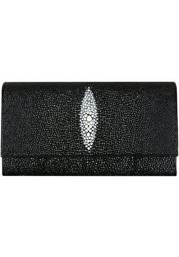 black-bifold-long-wallet-genuine-stingray-skin-leather