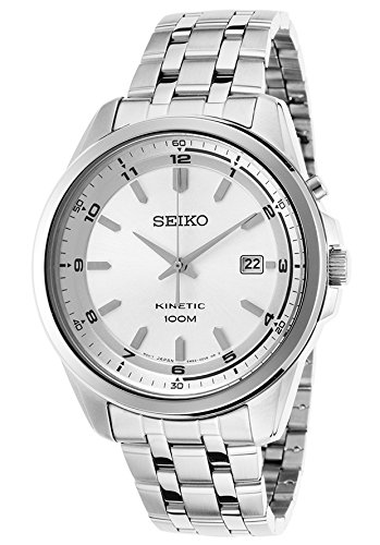 Seiko Kinetic Quartz Men'S White Dial Watch Ska629P1