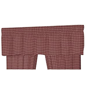 Patch Magic Maroon and Cream Small Plaid Fabric Curtain Valance, 54-Inch by 16-Inch