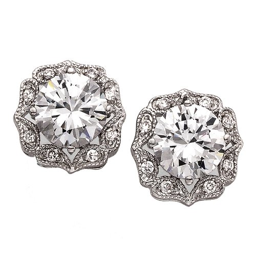6-Carat Cubic Zirconia Sparkling Vintage Solitaire Earrings