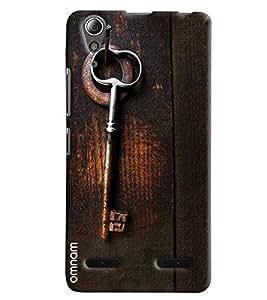 Omnam Old Key Lying On Wooden Door Printed Designer Back Cover Case For Lenovo A6000