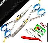 Blue Avocado - cheveux fins sur 4 x coiffeur professionnel Ciseaux de coupe de cheveux septembre et ciseaux à effiler Ciseaux de coupe de + 2 gratuits Barber Clips cheveux