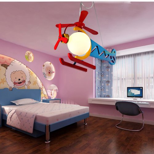 New Colorful Red And Blue Wooden Helicopter Kid'S Bedroom Pendant Lamp Children'S Study Room Rotatable Helicopter Pendant Light