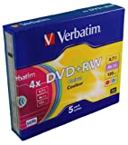Verbatim DVDRW 4X Non Printable Colours Slim Case Pack of 5 43297
