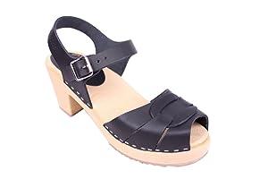 Lotta from Stockholm Sabots suédois  sabots-sandales en cuir noir   Commentaires en ligne plus informations