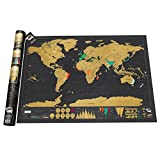 Vktech® Large Deluxe Scratch World Map Travel Vacation Personal Mark Decor Gift