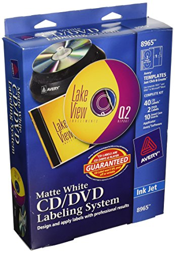 Avery CD/DVD Design Kit with 40 Matte Labels & 10 Inserts for Ink Jet Printer (8965) (Software For Avery Labels compare prices)