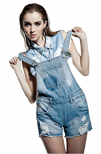 Wantdo Spring Women'S Denim Bib Overall Dkxn-D1073 (Us L Regularlight Blue)