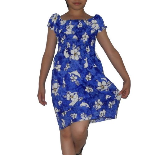 Girls Thai Exotic Gathered / Smocked Bodice Short Sleeves Summer Dress - Size:8