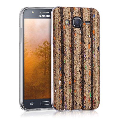 kwmobile Cover di silicone in sughero per Samsung Galaxy J5 (2015) - cover protettiva custodia con Design striatura riciclata