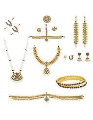 Multiline Company Traditional Gold Wedding / Bharathanatiyam Jewellery Set For Women