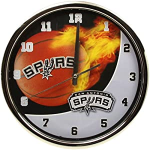 NBA San Antonio Spurs Sportsball Chrome Clock