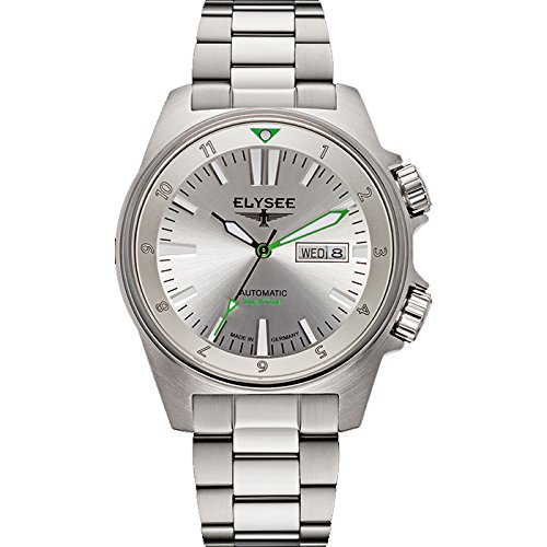 ELYSEE Made in Germany Dual Timer 87000 41mm Automatic Silver Steel Bracelet & Case Mineral Men's Watch