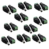 ESUMIC® 5.5mm x 2.1mm 12V DC Power Male & Female Jack Connector Plug Adapter Adaptor for Single Color LED Strip Lights (10 pair)