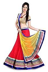 RedHot Fashion Women's Net Semi-stitched Red Designer Lehenga Choli And Dupatta Set (RHSR004)