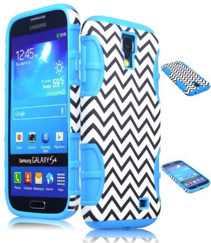 Bastex Hybrid Case For Samsung Galaxy S4 I9500 Siv S Iv - Baby Blue Silicone / Chevron Hard Snap On Shell front-757719