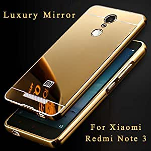 TiSec Luxury Metal Bumper Acrylic Mirror Back Cover Case For Xiaomi Redmi Note 3 - GOLD
