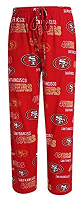 San Francisco 49ers NFL with SF Logo Scatter Pattern Men's Pajama Pants