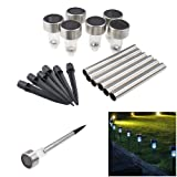 IMAGE® 18 Pcs Garden Solar Powered Lawn Lights Illuminated Outdoor Decoration Landscape Pathway Lamp LED Warm White Light - Stainless Steel