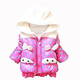 Baby Girls 3d Rabbit Hoodie Snowsuit Kids Spotted Outwear Jacket Coat Skisuits (3-4 Years, rose)