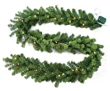 Jolly Workshop 240 Tips 50 Concave Needle Pine Garland with Warm Clear LED Lights and Battery Operated Timer - 9-Feet by 10-Inch
