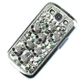 Handmade Silver Skull Crystal diamond Bling Case for Samsung Galaxy S3 III 9300