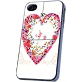 Whimsical Cute love owl Bird Floral Love Heart design iphone 4 4S Case/Back COVER PLASTIC/METAL-Clear Frame