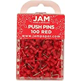 JAM Paper® - Red Push Pins / Thumb Tacks - 100 Colorful Pushpins per Container